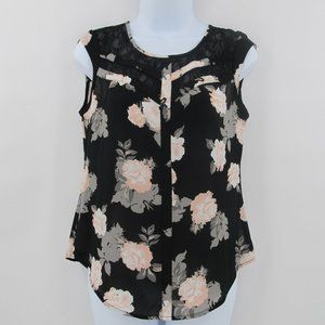 Candie's Small Sleeveless Floral Top Lace